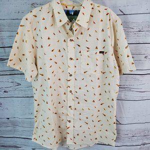 Men's Toddland Button Down SS Shirt Dinosaur M